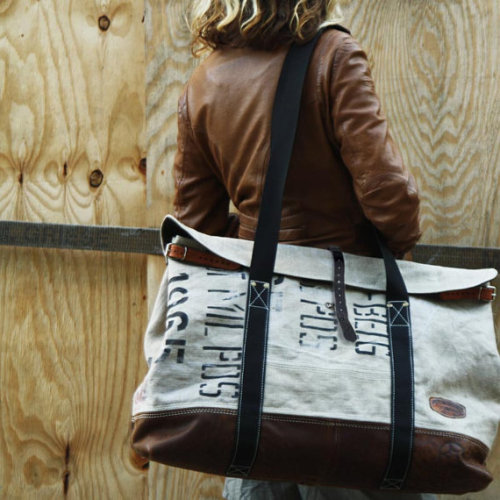 A sweet upcycled weekend bag by Etsy's peace4you.