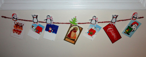 A cute way to display your Christmas cards! :)