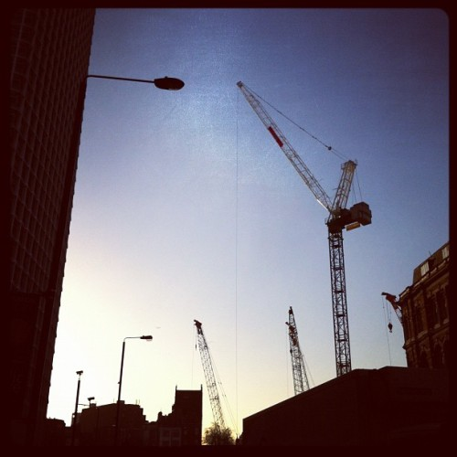 Cranes  (Taken with Instagram at Tottenham Court Road Bus Stop)