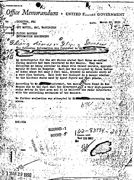 A bizarre memo that appears to prove that aliens did land in New Mexico prior to 1950 has been published by the FBI. The bureau has made thousands of files available in a new online resource called The Vault. Among them is a memo to the director from Guy Hottel, the special agent in charge of the Washington field office in 1950.