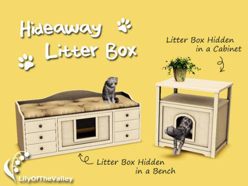 littlecatsims: Hideaway litter box by lilyofthevalley at TSR (thanks dee!)  Keep an eye open here. ;)