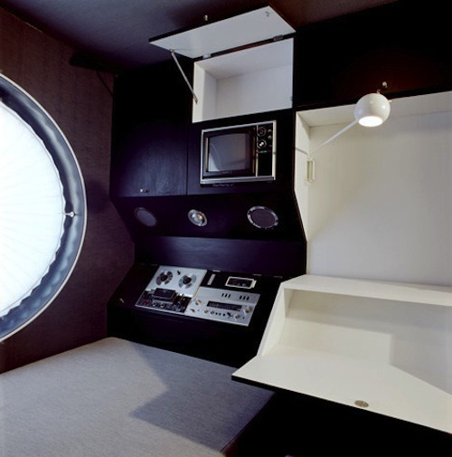 Space Age interior of Kurokawa Kisho's Nakagin Capsule Tower