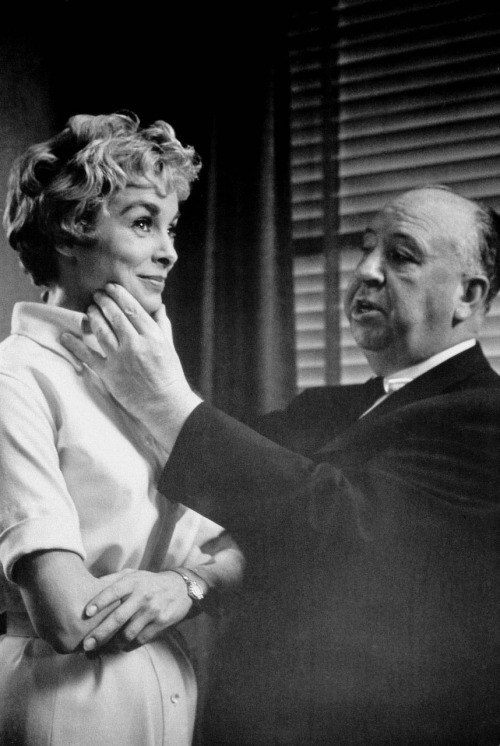 Janet Leigh and Alfred Hitchcock on the set of Psycho (1960) (Via)
