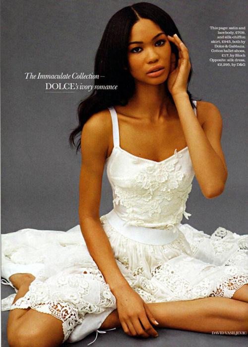 coco-lagerfeld:  Chanel Iman in Dolce and Gabbana