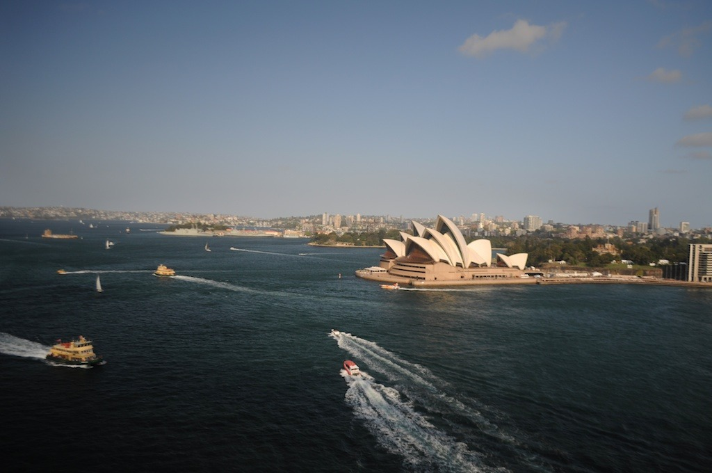 The Sydney Opera House as seen from the Harbour Bridge.