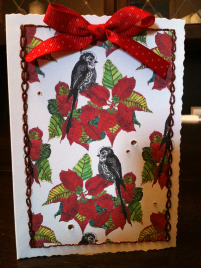 Handmade Christmas card with my Long-Tailed Tit & Poinsettia pattern.