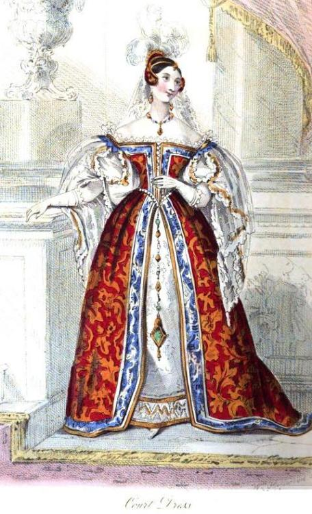 La Belle Assemblee, Court Dress, June 1834.  Now THAT is a dress!