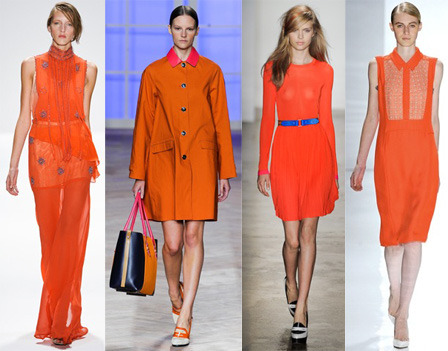 "glamour:  Today in awesome: Pantone announces ""Tangerine Tango"" as the official color of 2012.   so prision orange is in?  makes no sense to me, these girls look like they all just escaped from jail.  FAIL"