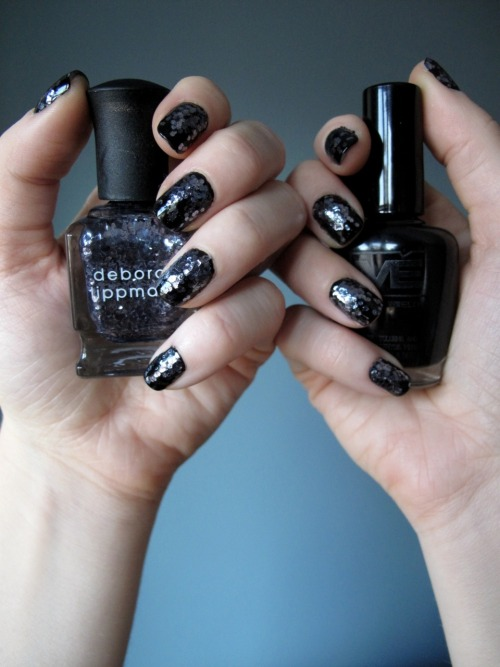 Fancy Nails!!: Matesse Elite - Black Deborah Lippmann - I Love The Nightlife OPI - RapiDry Top Coat I had big plans of doing something radically different with my nails today, but who am I kidding, that I Love The Nightlife polish is so good, I had to use it again.  So basically I did the same thing as last week, but with black polish.  I love Deborah Lippmann glitter polishes because they look totally different depending on what color you use as a base coat. 1. Paint all the nails with two coats of Matesse Elite Black 2. Apply Deborah Lippmann I Love Nightlife to the base of the nail  bad, loading it up with a lot of glitter.  Using the edge of the brush  lightly drag the polish/glitter up the nails. 3. Allow to dry 4. Apply OPI RapiDry TopCoat to the entire nail.