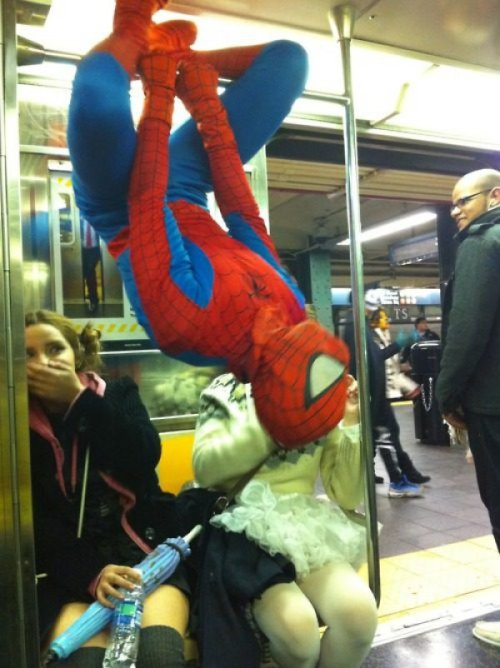 Spider-Man On Subway  The web cleanup around the city was costing way too much.