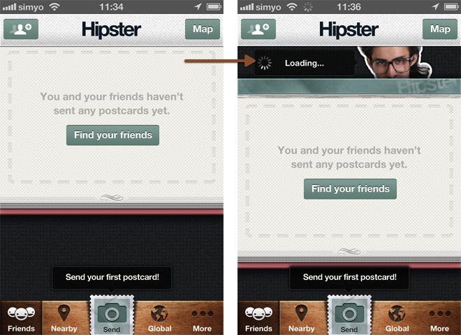 "Humor/Detail: When in Hipster (@hipster) you drag down the screen to reload you get the hipster ""mascot"" looking at you out of the app."