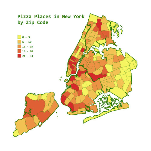 Pizza places in NYC by zip code. (via nevver)