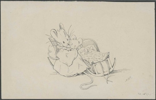 "fuckyeahmanuscripts:  Beatrix Potter's ""Bedtime,"" original pen and ink drawing, 24 February 1893. This is one of a set of six drawings to illustrate ""There Was an Old Woman Who Lived in a Shoe."" It was later used in Appley Dapply's Bedtime. It was also used in The Tale of Two Bad Mice."