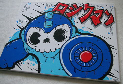 "A Little Bit On The Mega Man Side: Mega ""Death"" Man Posca drawing on canvas by OSKUNK."