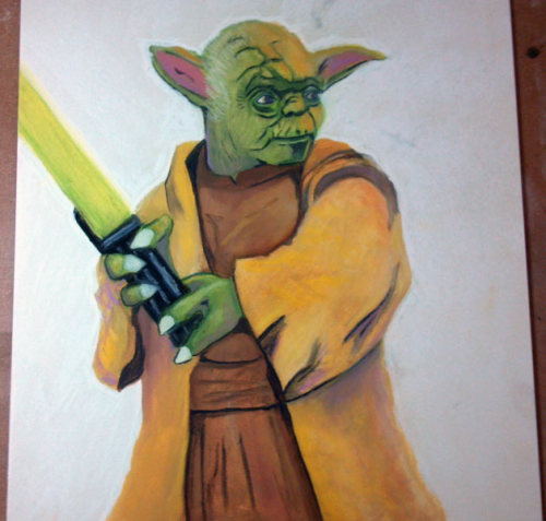 I did this 11x14 Yoda on Ampersand Pastel Art Board. It is for my son for Christmas. It was done with Nupastel and Derwent pastel pencils in combination with Gamsol and brush.   I am considering Hellboy as my next project. I may even do a watercolor under-painting first too. I know…crazy right? :P