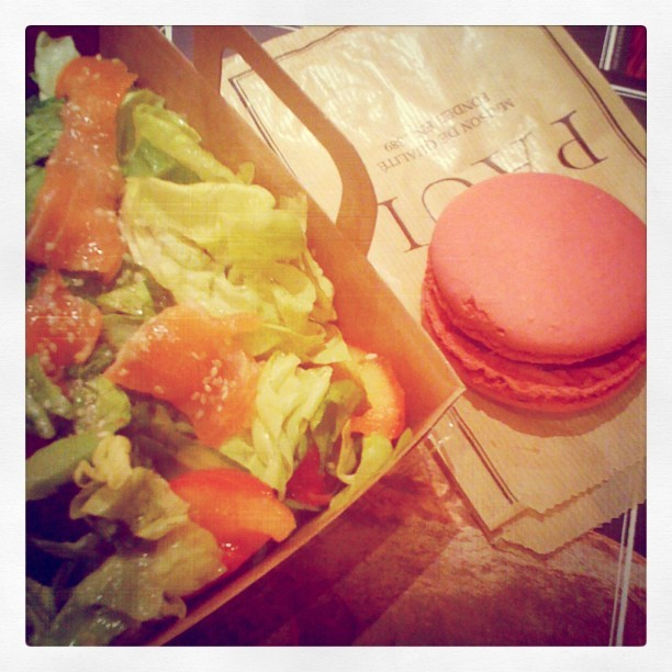 yuminess for dinner,salmon salad and rasberry macaron.perfect. (Taken with instagram)
