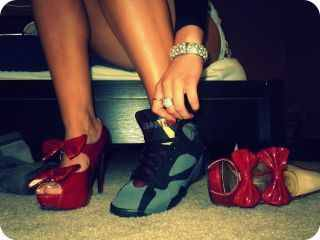 this is TO ME! haha. I go out in my heels & take a pair of my babies with me cuz I love my sneaker addiction ♥