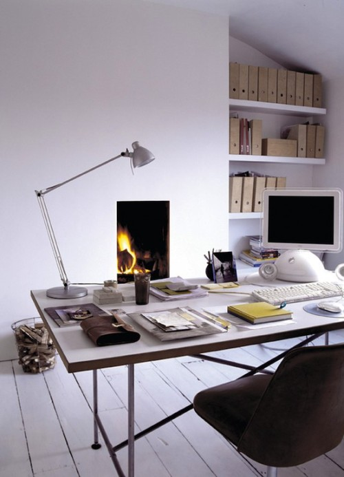workspace with fireplace (via inredningsdesigner)