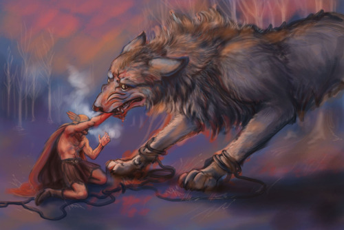 Fenrir devouring Tyr's hand. As usual this isn't done but I am tired. One day. One day I will finish a thing.