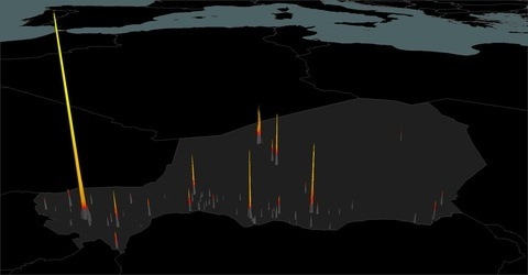 (A 3D plot shows the nighttime brightness of areas of Niger over the course of a year. Image courtesy Science/AAAS.) The intensity of light shining from cities at night could help identify hot spots where outbreaks of infectious disease are likely to take place, a new report published in Science shows. More