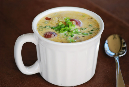 Red Potato and Corn Chowder More soup!  For this chowder you cut the corn from the cobs then add the cobs to the water to boil the potatoes for your stock.  I actually used half water, half chicken broth for my stock and it was delicious.  Boiling the cobs in the stock gave it a huge amount of flavor.  As a matter of fact I added extra heat and spices to balance the corn flavor.  The only thing I would do differently is add more potatoes to add to the heartiness of the soup since there is no meat in it and I am a serious carnivore.  This didn't take a lot of time to put together and everyone enjoyed it.  Adapted from Gourmet: http://www.epicurious.com/recipes/food/views/Potato-Corn-Chowder-242862