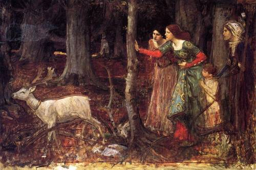 thedeerandtheoak: c 1914 John William Waterhouse (English Pre-Raphaelite, 1849-1917) ~ The Mystic Wood