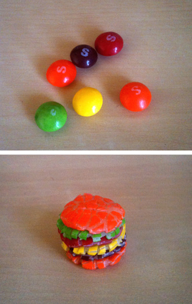 hello-zombie:  jublin:  Skittle Burger RecipeI know everyone's been dying to learn the recipe for skittle burgers, so I thought I'd share the family secret with the rest of the world.  Get skittles Smash em together Eat it or whatever  HUZZAH!