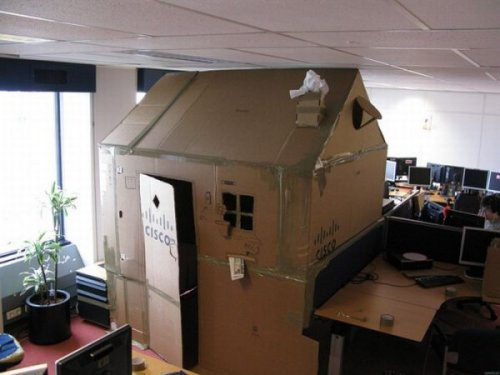 Cardboard Cubicle House Prank  He needs the extra privacy for midday naps.