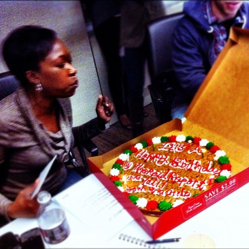 Joy-Ann Reid @thegrio managing editor celebrating her bday! Too late to be in the office on Friday night.  (Taken with instagram)