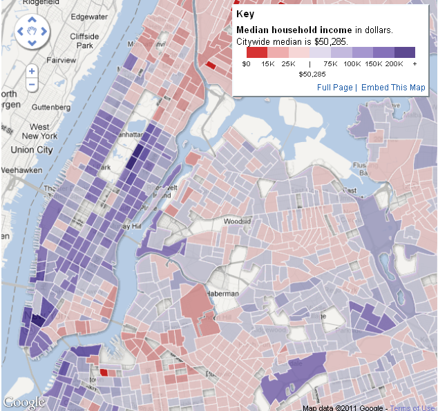 John Keefe of WNYC made this pretty (and pretty addictive) map of New York City by income. See which neighborhoods are the richest (the Upper East Side) and the poorest (the South Bronx). Average income for each census track is listed in the interactive version.   And more interestingly see how close the very wealthy live to the very poor in some parts of the city (Brooklyn).  (Full map and article at WNYC)