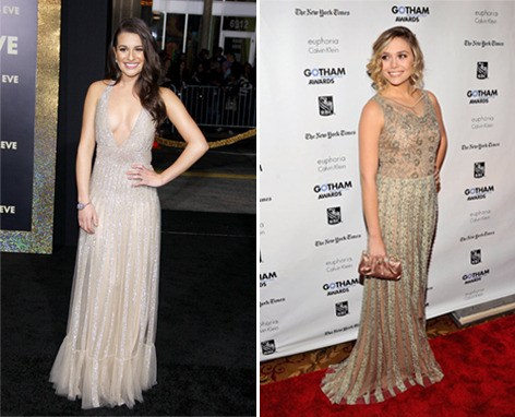 Fashion face-off! Lea Michele and Elizabeth Olsen both wore shimmery nude Valentino gowns on the red carpet this week. Tell us who wore it better here »