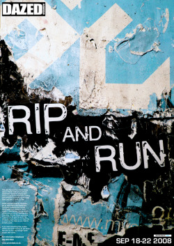 Rip and Run A poster to promote This year's rip and run event that takes place at  Seven dials in London each year. It is an event where selected artists  give away free poster/wall art, that is hung up in various hidden places  in the streets. I used old ripped posters from outside walls to create a  new poster in a collage style.