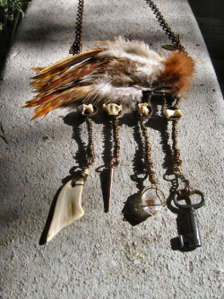 Rooster Feather And Bone Talisman Necklace!  ***FOR SALE NOW!*** WWW.ADORNEDIMMORTAL.COM