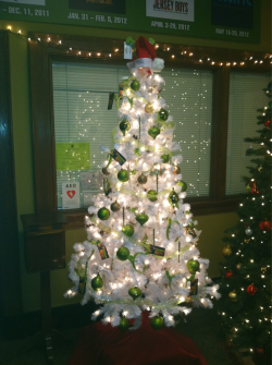 The fantastic Shrek Christmas tree in the lobby!