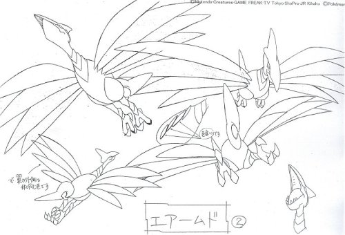 fuckyeahbetapokemonart:  More concept art for Skarmory, showing how Skarmory maneuvers in flight as well as its beak when it's opened