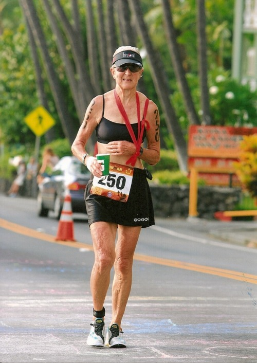 veganrunnergirl:  Harriet Anderson, 76, first place in the Ironman for women 75 and over.   Talk about inspiration.
