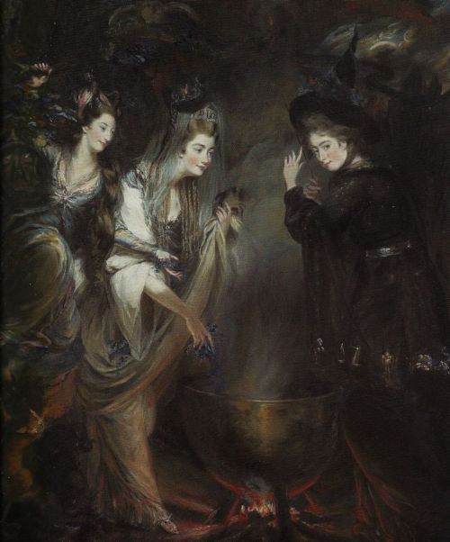 missfolly:  The Three Witches from Shakespeare's Macbeth, by Daniel Gardner, 1775 Georgiana, Duchess of Devonshire and Elizabeth Lamb, Viscountess Melbourne – the most famous political hostesses and society beauties of their day – are shown gathered around the witches' cauldron alongside their friend, the sculptor Anne Seymour Damer. © National Portrait Gallery, London