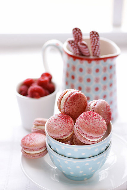 raspberry and pink peppercorn macarons by cannelle-vanille on Flickr.