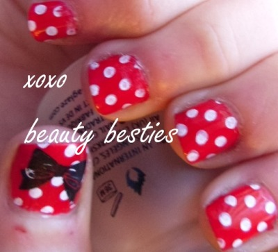 Minnie Mouse inspired nails http://www.beautybesties.wordpress.com