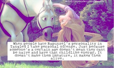 "waltdisneyconfessions:  ""When people hate Rapunzel's personality in Tangled I take personal offense. Just because someone's a certain age doesn't mean they cant be naive and have that child like energy. It doesn't make them immature, it makes theme alive."""