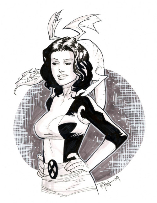 thehappysorceress:  Kitty Pryde & Lockheed by Ryan Ottley