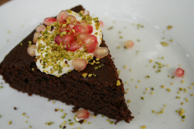 Chocolate Pomegranate Yogurt Cake by KitchenCaravan on Flickr.
