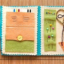 DIY emergency sewing kit made from loose felt, some string, and materials!