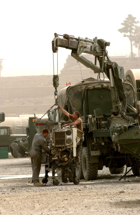Canadian and Belgian mechanics servicing a vehicle in Kabul