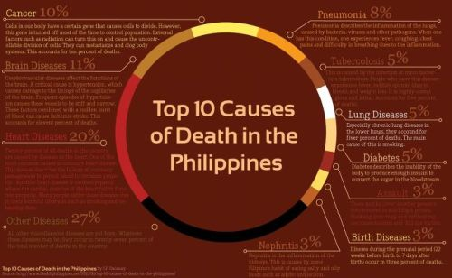 Infograpfic showing the top ten causes of death in out country, the Philippines.