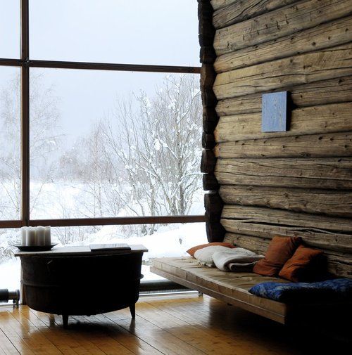 winter interiors with raw wood