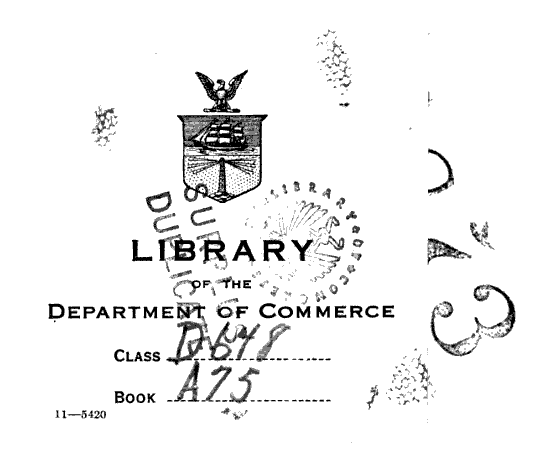 "A collage of library artifacts (Library of the Department of Commerce): bookplate with location, stamped numbers, ""surplus duplicate."" Now in the collection of the University of California Santa Cruz.  From the front matter of Reparations, Trade and Foreign Exchange, by Lawrence Lee Bazley Angas (1922). [Here]"