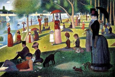 A Sunday Afternoon on the Island of La Grande Jatte by Jerry Ratch A woman is fishing in the Seine at the far left of the painting, while time is suspended and light remains. One man plays a trumpet. A half dozen people sit or walk under parasols. Couples stroll and children run or sit or stand beside their parents. A woman on the lawn is knitting while she sits with her gentleman. A black dog sniffs. The tall couple in the right foreground stroll in perfect and symmetric profile in full Sunday attire with cane and parasol. She walks her monkey There is a flower in her hat, and in her gentleman's lapel While in the background, a couple is walking away and a woman caresses her man as he bends toward her. And on the river that is full of reflection, white sails, long boats And in the left foreground, a sportsman or worker in cap and sleeveless orange shirt, smokes his pipe looking out at the river, as the sunlight on the Island of La Grande Jatte begins to creep up his leg made of dots    [painting by Seurat; text from JR's book LIGHT published by O Books.]