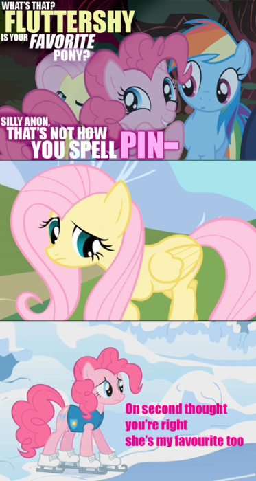 Well NO FUCKING SHIT that Fluttershy is everypony's favorite pony.  Who's your favorite pony?  There is a correct answer and that answer is Fluttershy.  Fluttershy is always right