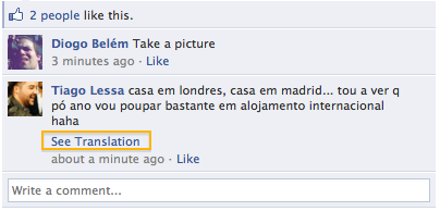Facebook - When a comment is not in your set language, there is an option to translate it. /via | Marina Janeiko |
